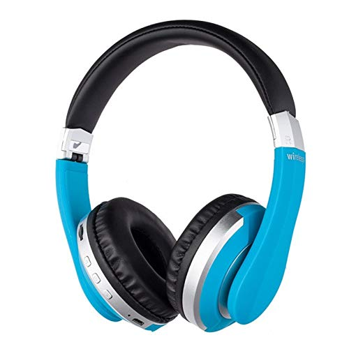 TSAUTOP Newest Wireless Headphones Bluetooth Headset Foldable Stereo Gaming Earphones With Microphone Support TF Card For IPad Mobile Phone (Color : Blue)