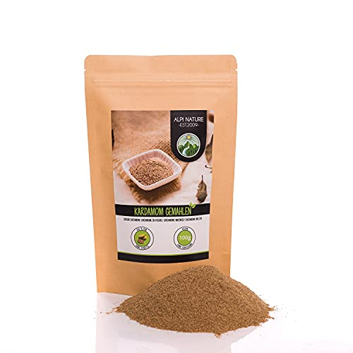Cardamomo en polvo (100g), cardamomo molido, polvo de cardamomo, 100% natural, vegano y sin aditivos
