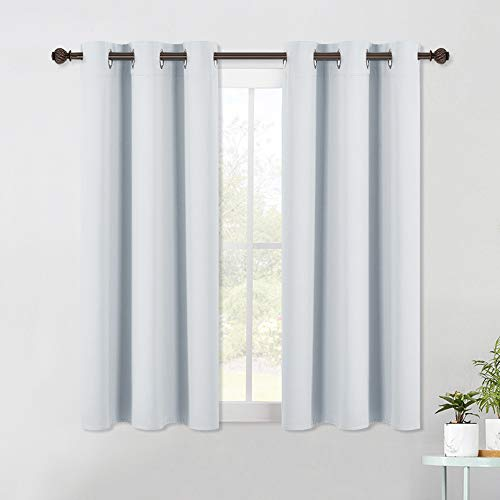 NICETOWN Room Darkening Curtain Panels for Bedroom -Easy-Care Solid Thermal Insulated Grommet Room Darkening Draperies/Drapes (2 Panels, 42 by 54, Platinum-Greyish White)
