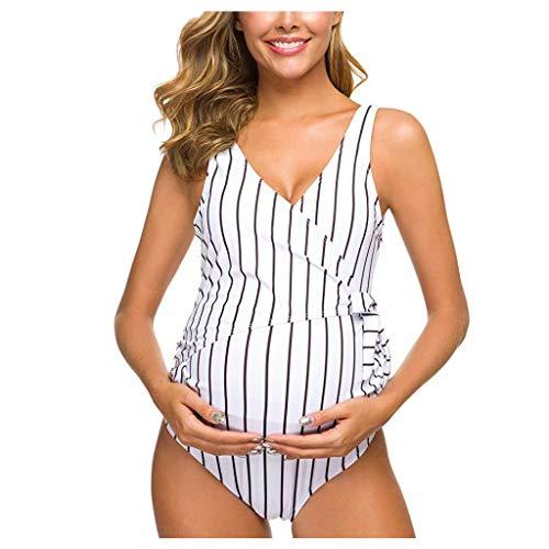 Bikini Sets Damen Mutterschaft Frauen Neckholder Umstandsbadeanzug Mode Gestreifte Tankinis Fiesta Kleidung Set Bikini Bademode Umstandstankini Schwangerschafts Strand Badeanzug Swimwear