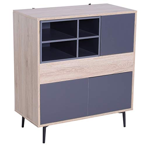 HOMCOM Mehrzweckschrank Aufbewahrungsschrank Schrank Sideboard Holzschrank Konsole Flur ausziehbar Ablagefach Holz + Metall Dukelgrau + Natur 78 x 39 x 87,2 cm