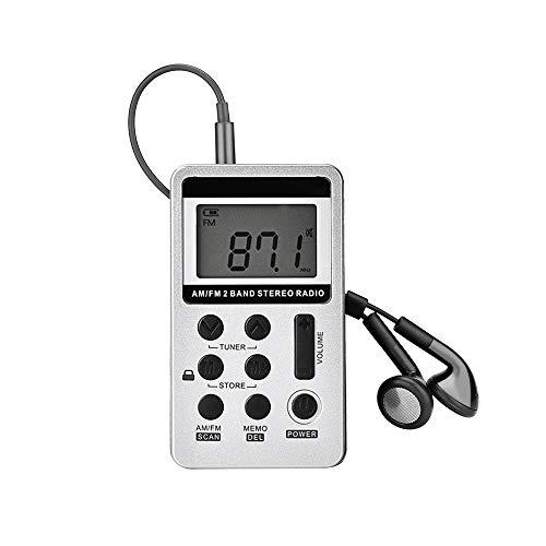 Houkiper Draagbare stereoradio, digitale mini-radio AM/FM met LCD-snoer en hoofdtelefoon