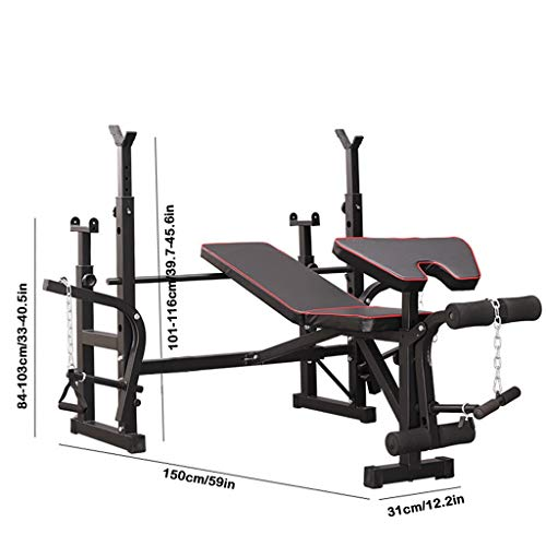 Olympic Weight Benches, Adjustable Weight Bench Set with Squat Rack Multifunctional Weight-Lifting Bed Weight-Lifting Machine Fitness Equipment for Full-Body Workout Incline Bench Home Gym