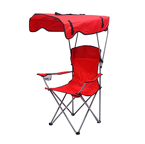H-BEI Silla de Campamento Plegable con Dosel, Silla de Playa al Aire Libre con toldo, Silla de Senderismo portátil para Acampar con portavasos y Bolsa de Transporte para Patio, Playa, pi