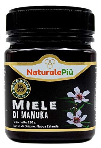 Miel de Manuka 500+ MGO 250g. Producida en Nueva Zelanda, activa y cruda, 100{7364b9f74313ee5d9ac6c6618ecc4f4030ce6c6b54df6c34a450d208e3f648d2} pura y natural. Metilglioxial probado por laboratorios acreditados. NATURALEPIÙ