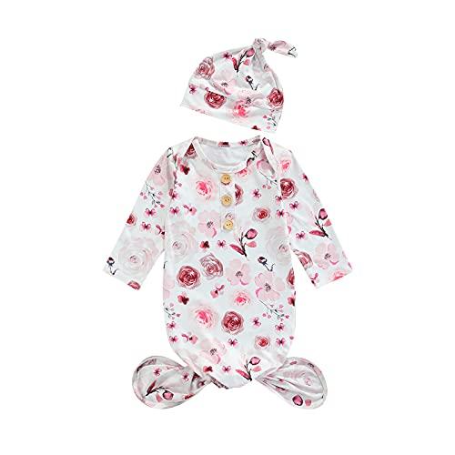 Ropa de dormir para recién nacido, bebé, niña, saco de dormir, pijama de manga larga, manta de manga larga, camisón infantil (rosa blanco, 0-3 meses)
