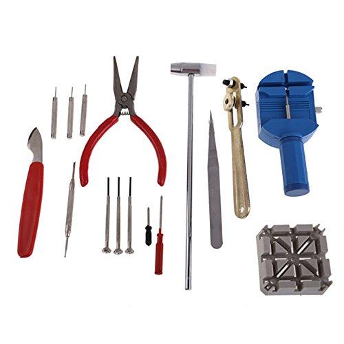 TRIXES Uhrmacherwerkzeug Set Uhren-Reparatur-Set Werkzeugset mit Armband-Einstell-Werkzeug & Gehäuseöffner 16-teilig