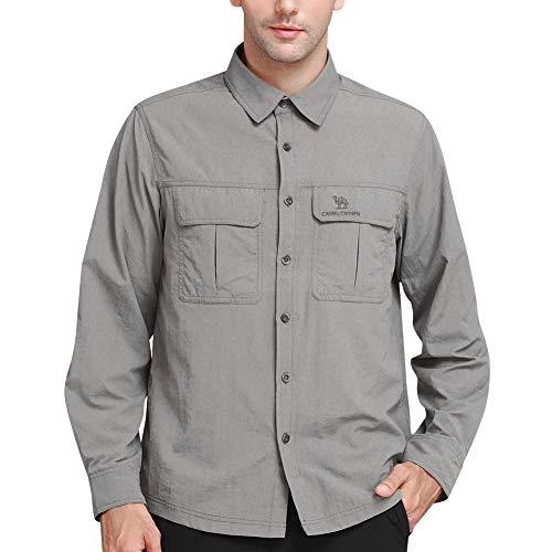 CAMEL CROWN Camisa Casual de Manga Larga Hombre Secado Rápido Protección UV Transpirable Al Aire Libre Camisa con Bolsillos Convertible Corta Camisa para Pesca Trabajo Viaje Senderismo Camping