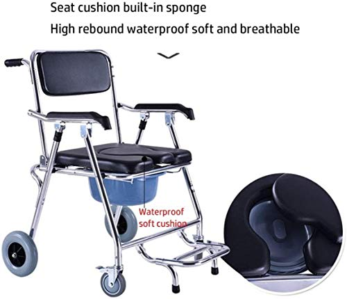 Kommoder Mobil Stuhl WC Stuhl mit Rädern Sitz Rollstuhl Dusche Transport Stuhl faltbare Mobil Stuhl for Badezimmer WC Hocker ältere Invaliden (Color : Black)
