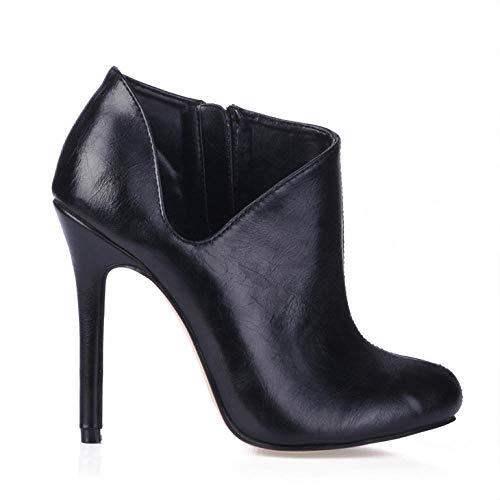 Damen Stiefeletten Winter Catwalk OL Workplace Boots schwarz High Heels -40, schwarz