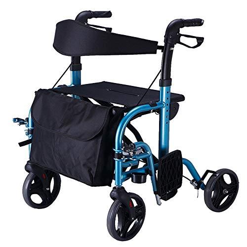 ZhuFengshop Oudere wandelstoel, in hoogte verstelbaar, blauw, boodschappenmand, opvouwbare handmatige rolstoel, multifunctionele walker, stabiliteit