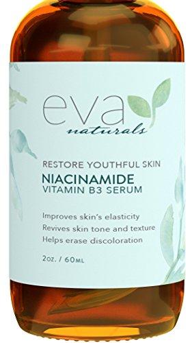 Eva Naturals Vitamin B3 5% Niacinamid-Serum (60 ml) – Niacinamid hat Anti-Aging Wirkung und reduziert das Erscheinungsbild von Falten, Akne und Verfärbungen