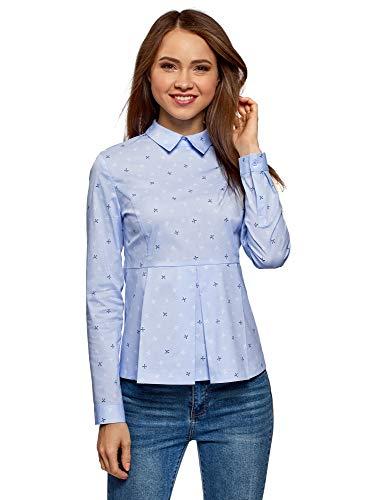 oodji Ultra Damska bluzka bawełniana z pałeczkami