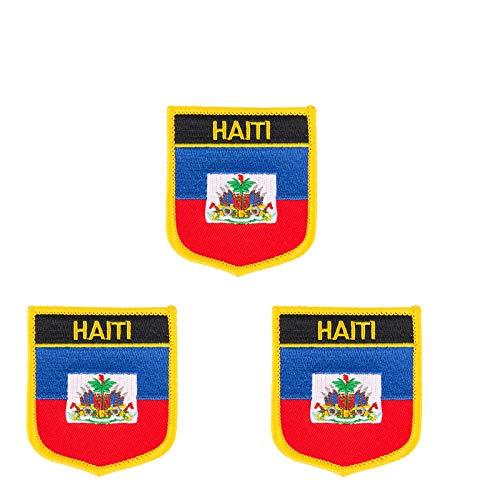 3 Stück Haiti-Flagge bestickt Shiled Form Aufbügler Applikation Aufnähen