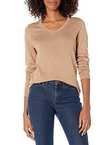 Amazon Essentials Women's Lightweight Long-Sleeve V-Neck Sweater, Camel Heather, Large