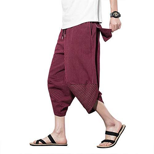 Hombres Harén Pantalones Bombachos Cómodo Respirable del Verano Pantalones de Lino Ligeros Suelto con Pantalones de Cordón Hombres 3/4 Monocromo Pantalones de Ocio