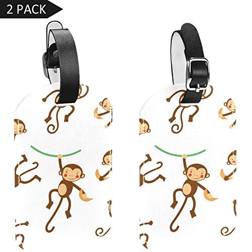 Gepäckanhänger aus PU-Leder mit Sichtschutz auf der Rückseite, 2 Stück, Cartoon-SpielAffe