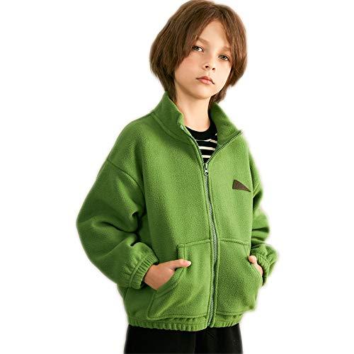 DUTUI Herbst-Winter-Fleecejacken Für Jungen Und Mädchen, Einfarbige, Warme, Lässige Und Bequeme Jacken Für Ältere Kinder,Grün,3XL