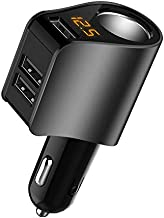 Car Charger,Multi USB Cigarette Lighter Adapter,Socket Splitter with 3 USB and Voltage Meter,Compatible with iPhone,iPad,Apple Watch,Airpods,Samsung,LG,HTC,GPS,Android Phone (Black)