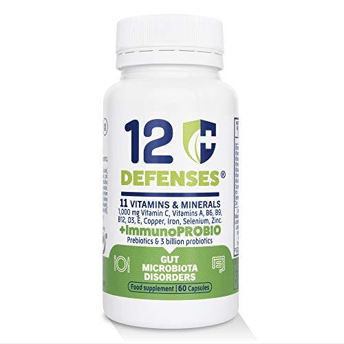 ImmunoPROBIO 12 Defenses | Multivitaminas para el Sistema Inmunitario y Defensas | Probióticos para Equilibrar la Flora Intestinal | Fórmula Completa | Contiene 60 Cápsulas Vegetarianas