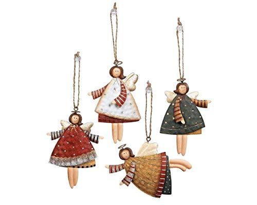 SCSpecial Adornos para árbol de Navidad, 12 piezas, ángel bailando, decoración de metal para fiestas