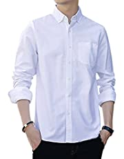 Cloudstyle Men's Solid Cotton Causal Shirts