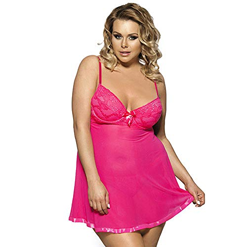 EJTAQ Erotische Dessous Damen Dessous Kleid Sexy Intime Babydoll Sexy Kostüme Für Frauen Bekleidung Sexy Unterwäsche-Pink_5XL
