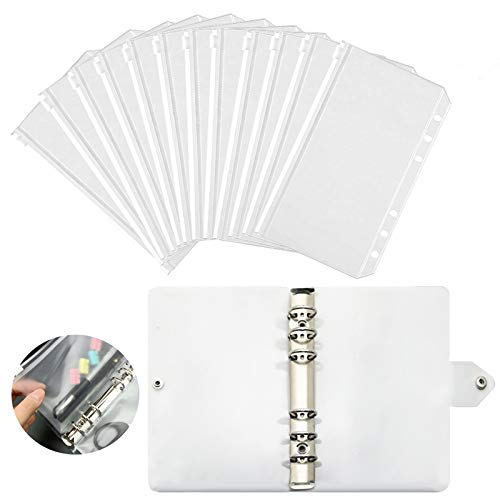 SwirlColor 6Ring Binder, wasserdichte Dokumentenordner Transparente Aktenordner mit Reißverschluss 12 Stück, mit Binder Schale 1 Stück