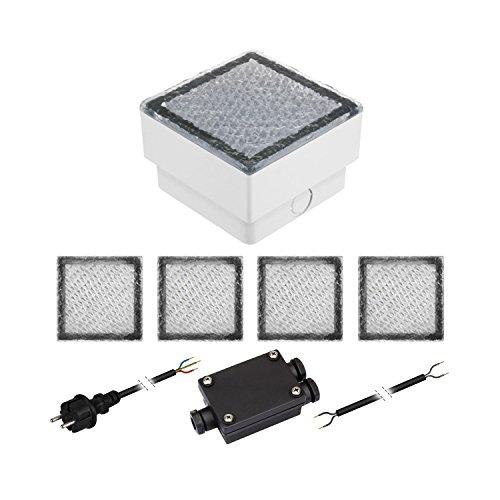 parlat 5er-Set LED Pflasterstein CUS Bodenleuchte für außen, kalt-weiß, IP67, 230V, 10x10cm
