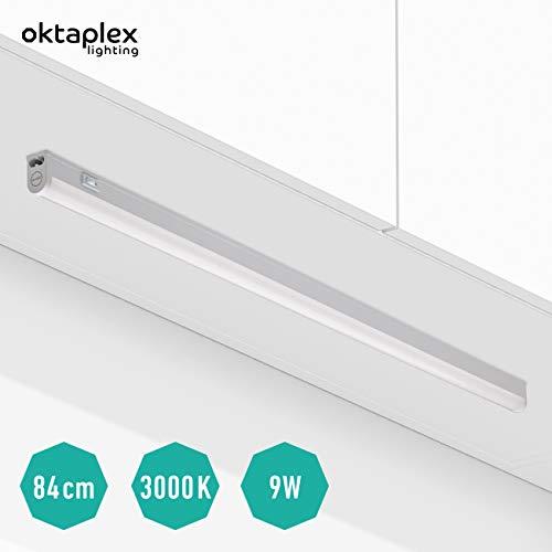 Oktaplex lighting LED Unterbau-Leuchte mit Schalter Riga 84cm I Praktische Unterschrank-Beleuchtung Lichtröhre 13W 1170lm Blendfreie Helle Küchen-Beleuchtung LED Leiste Warmweiß 3000K erweiterbar