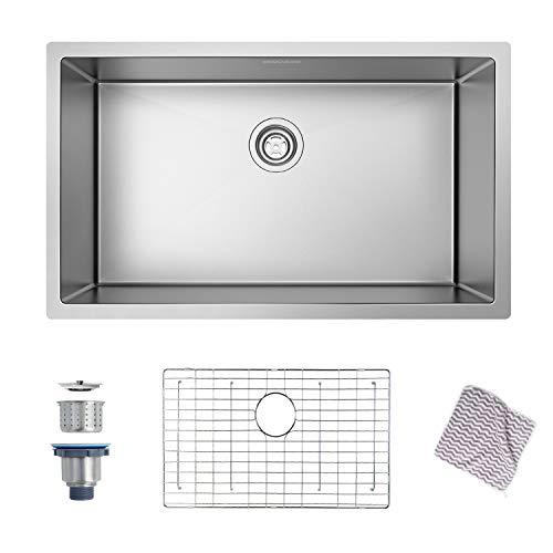 Kitchen Sink, MENSARJOR 30'' x 18'' Undermount Single Bowl Kitchen Sink 16 Gauge Stainless Steel Kitchen Sink