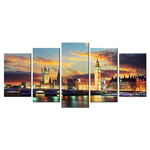 LevvArts - 5 Piece Wall Art London Big Ben Paintings on...