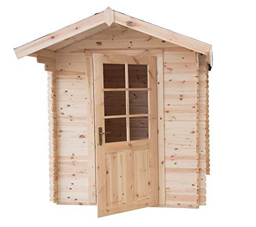 CABEX CO. S.r.l. -Casetta Ricovero Attrezzi da Giardino in Legno, Sistema Block House, Doghe Spessore 28 mm. Modello [BLOC2x2/28], Neutro