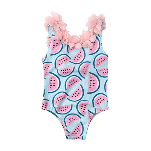 xkwyshop Toddler Girl Swimsuit One Piece Swimwears, Sleeveless Watermelon Toddler Girl Bathing Suit Beachwear Swimming Suit (Blue, 3-4T)