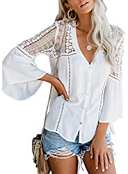 Feature: V Neck, Flowy Bell Long Sleeve, Lace Crochet, Button Down, Loose Fit, Basic Solid Color Design Finely detailed with sheer crochet and ladder lace detailing blouse Designed with a relaxed silhouette and flowy bell sleeves for a whimsical, boh...