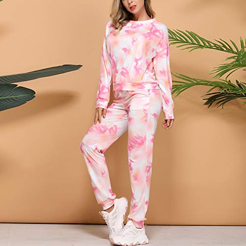 MoneRffi Womens Tie Dye Sweatsuit Set Casual Round Neck Tee and Pants Pajamas Sets Long Sleeve Pullover and Drawstring Jogging Sweatpants Jogger Sets Parent-Child Loungewear(Tie dye,Kid/ 9-12 months)