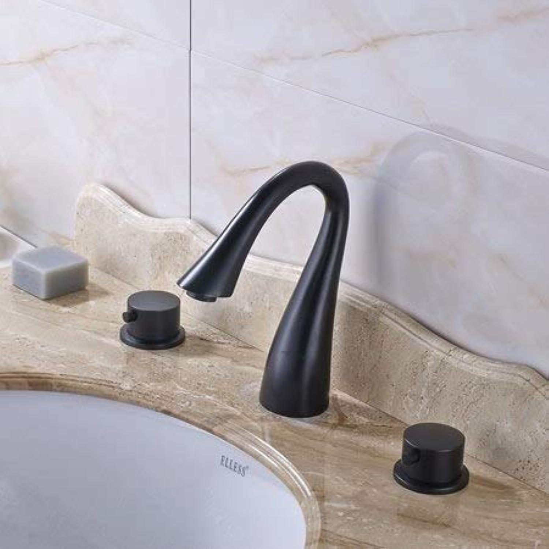 U-Enjoy Kronleuchter Bronze Badezimmer schwarzened Waschtischarmatur Top-Qualitt Verbreitet Sink Doppel Griff Tub Mixer Deck Montiert Washing 3 Lcher Kostenloser Versand [C]
