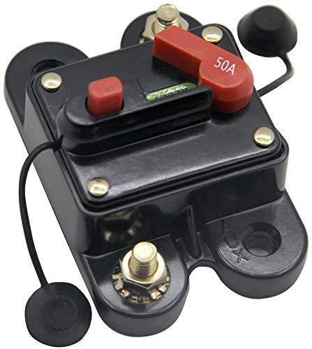 RKURCK Leitungsschutzschalter 50 A, Sicherungshalter, Schleppmotor, Auto, Boot, Fahrrad, Stereo, Audio, Inline-Sicherung, Wechselrichter, Relais DC 12–24 V (50 A)