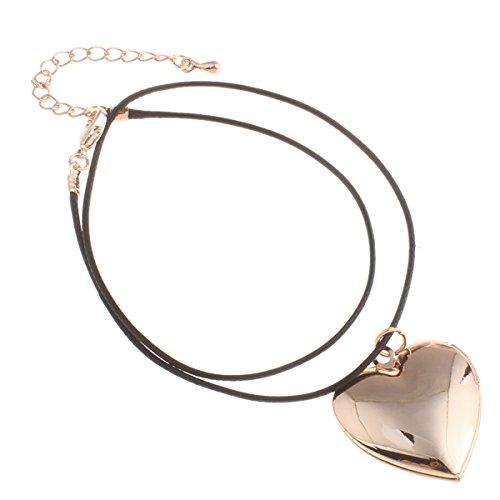 Styleziel 2079 - Parure di gioielli composta da una collana in cordoncino con ciondolo a forma di cuore apribile in oro rosa, 37 cm, da donna