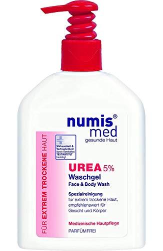 numis med Waschgel mit 5% Urea - Gesichtspflege frei von allergenen Duftstoffen & vegan - Gesichtsreinigung für sensible, zu Neurodermitis neigende & trockene Haut - Hautpflege (1x 200 ml)