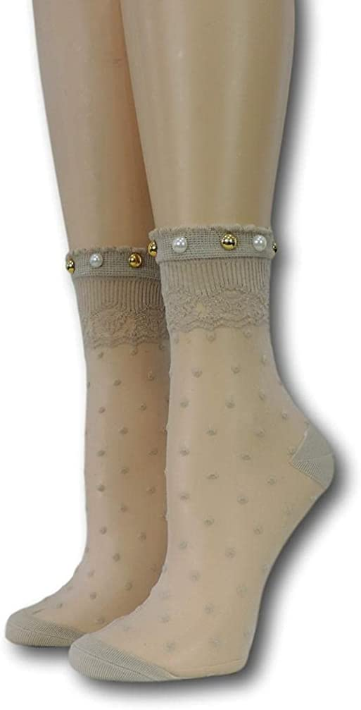 Heavy Cream Royal Dotted Sheer with beads 100% Nylon Sheer Socks - Breathable and Lightweight Summer Ankle Socks for Women
