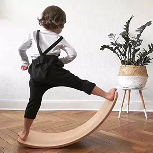 WOOD CITY Wobble Board, 35 Inch Wooden Balance Board for Toddlers Kids & Adults, Curvy Rocker Board for Yoga and Exercise Indoor & Outdoor, Open Ended Learning Toy Gift