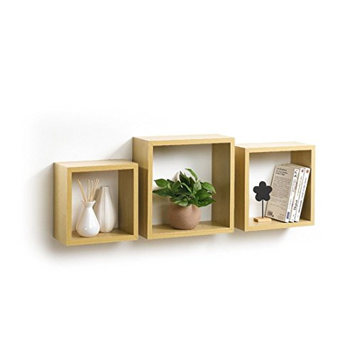 Modul Home 6RAN789BC - Mensole a cubo, in MDF, 11,8 x 30 x 30 cm, pannello MDF, Quercia, 3 taglie 23 cm 26,5 cm 30 cm, 2 Unità
