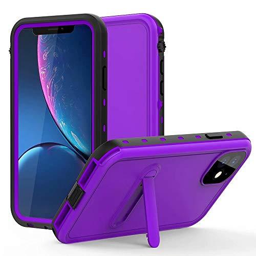 Haiqing Funda resistente a prueba de golpes, resistente al agua, con protector de pantalla integrado, compatible con iPhone 11 (6,1 pulgadas) (color: morado)