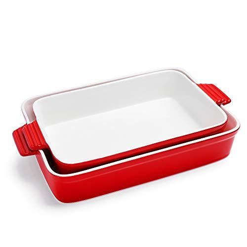 Sweese 520.204 Porcelain Baking Dishes, Non-stick Lasagna Pans, Large Rectangular Baking Pan set, Casserole Dishes, Set of 2, Red