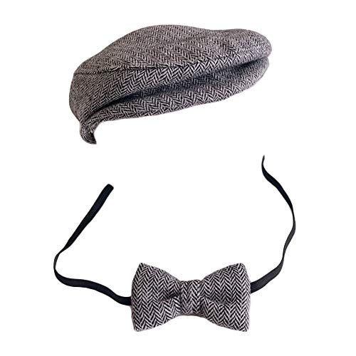 Baby Photography Props Monthly Boy Photo Shoot Outfits Infant Flat Cap Gentleman Hat Bowtie (Black+White)