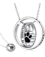 Collar de urna para cenizas de plata de ley 925 con diseño de margarita/huella de perro y girasol, colgante de cremación para mujeres, amigas