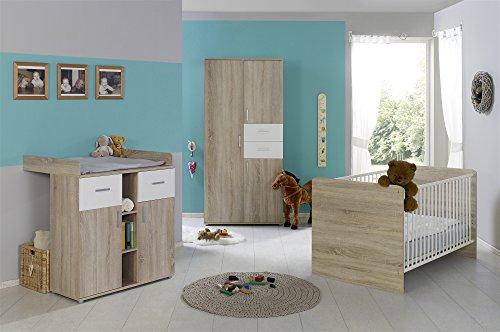Babyzimmer Babymöbel komplett Set ELISA 1 in Eiche Sonoma Weiß, Komplettset mit Kleiderschrank...