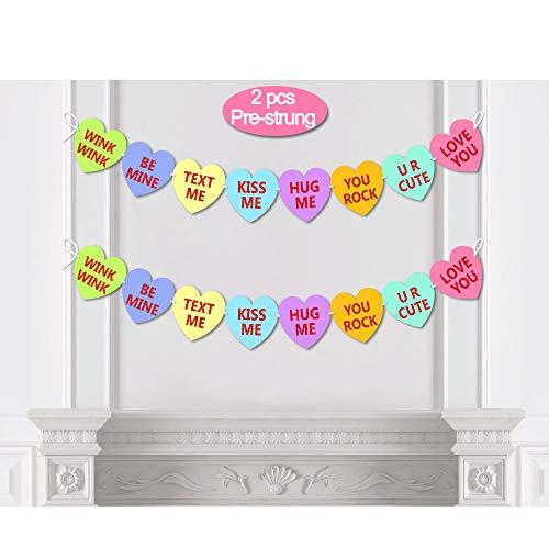 Candy Conversation Heart Valentines Day Banner Decoration,Glitter Pre-strung Garland 2pcs