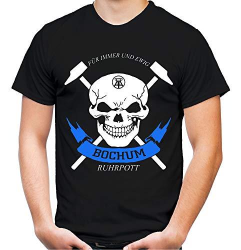 Bochum Zeche Männer und Herren T-Shirt | Fussball Ultras Ruhrpott Fan (XXL, Schwarz)